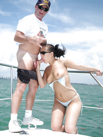 Brunette amateur gets picked up by a seductive sailor, who invites her for a quick ride and great fuck on his luxury yacht in the see.