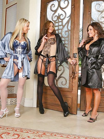 Any man can only dream of being caught by four sexy looking MILFs in sexy lingerie and stockings in order to have a group sex with them.