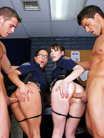 Watch how to formidable MILFs in amazing police uniforms are making their prisoners undress and fuck their tight pussies with those huge dicks.