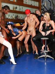 Watch how an enormous gathering of the sexiest pornstars in stunning uniforms turns out to be the best Interracial orgy in the world.