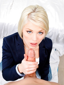 Beautiful chick having short hair is kissing and fucking with her lovely partner. She is smiling happily when he is jizzing onto her face.