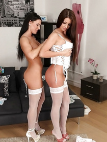 Passionate sluts are looking great wearing nothing but extremely sexy white stockings. They are fucking like real sex experts.