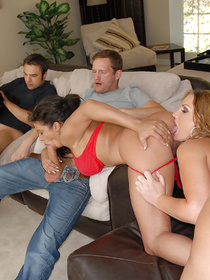 Juicy MILF is enjoying unforgettable gangbang party with two men and two wild ladies. They are all fucking hard and feeling orgasms.
