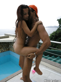 Lovely beauty queen wearing sexy bikini is enjoying passionate sex with her lover outdoor. She is forgetting about it all riding his penis.