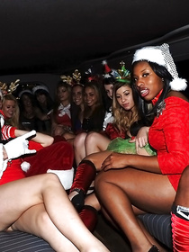 Sweet chicks are getting their sensual holes penetrated with strong penis of the guy wearing Santa's uniform. They are going to remember this Christmas for a long time.