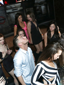 Sweet queens are enjoying wild orgy in the night club. They are feeling great masturbating their lovey twats and being punished hard.