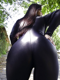 Sweet chick is taking off her extremely sexy black latex suit and practicing masturbation. Her lover is pushing his cock deep into her wet holes.