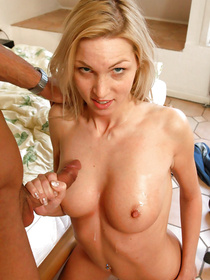 Be ready to see fountains of sperm on this slutty blonde's sweet boobs. She is letting her strong partner do all the dirtiest things with her.