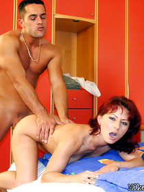 Join this brutal fellow having passionate sex with his redhead babe. He is eating her pussy and drilling her with his awesome penis.
