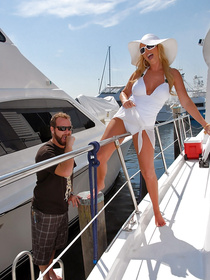 Sweet woman loves having sex with the owner of expensive boat. They are swimming in the ocean and enjoying sensational fuck.