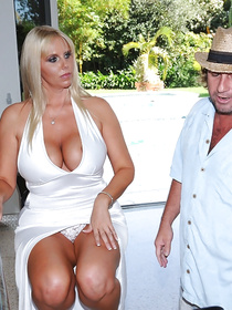 Lustful madam in white dress is ready to get naked and to fuck with handsome stranger. She is taking sensual care of his big tasty penis.