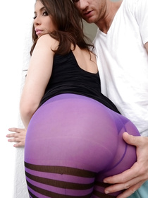 Strong man is enjoying passionate closeness with this babe wearing purple stockings. She is getting her mouth full of sweet jizz.