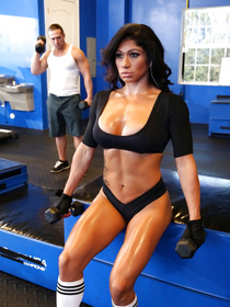 Enter the gym where sweet brunette wearing sport uniform is getting punished with her instructor's cock and covered with cumshot.