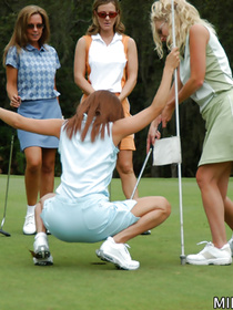 Kinky women are showing awesome fuck skills right after playing golf. They are satisfying each other with great pleasure and excitement.