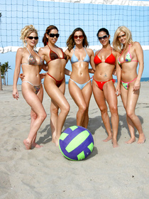 It is always a great idea to play volleyball in Summer. These five ladies are fond of volleyball and they are also in love with passionate sex.