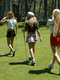 Sexy women are looking great wearing uniform for playing golf. They are enjoying masturbation sessions and practicing wild threesome.