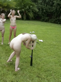 Filthy ladies are playing golf with the man being absolutely naked. They are also taking care of his erected boner in his bedroom.