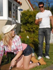 Wonderful blonde housewife is fucking with her man in the garden. She is demonstrating great reverse cowgirl skills and getting her mouth banged.