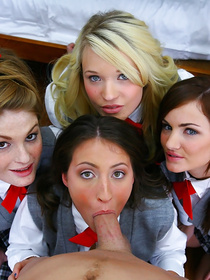 Powerful fellow is enjoying unforgettable group sex with four sensational babes. They are all looking so sexy wearing school uniform.