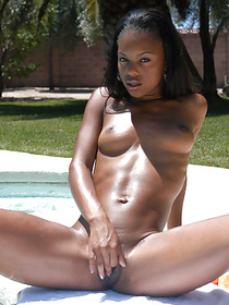 Busty chocolate lady's dream is to have unforgettable interracial sex. She is also masturbating and showing striptease skills outdoor.