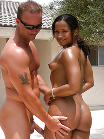 Juicy chocolate woman is practicing awesome sexual tricks with her interracial boyfriend. She is smiling happily getting her ass jizzed on.