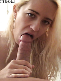 Deep blowjob is the best gift for every man on Earth. This guy is lucky to have oral sex with sweet blonde showing her cock sucking skills with pleasure.