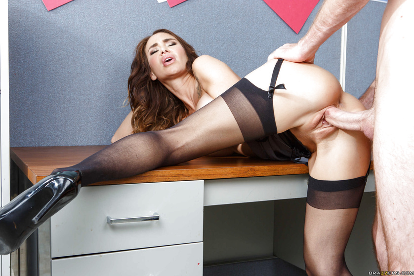 Office sex girl fucked from behind, boy spank strap