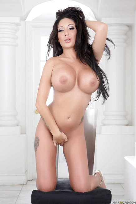 Busty British Brunette Emily B In Stockings Gets Her Smooth Pussy Banged By Four