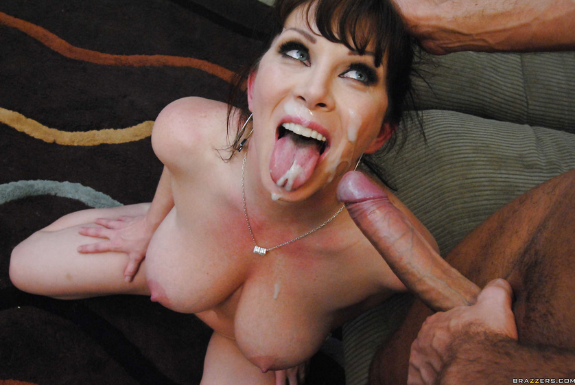 Brunette mature hardcore and cum on tits