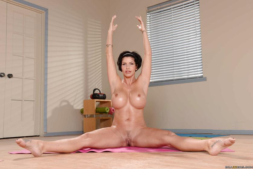 Naked yoga mom image